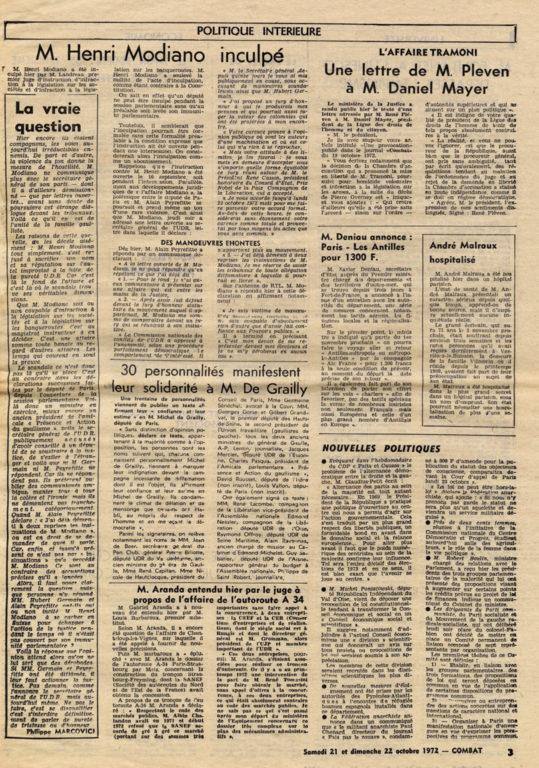 Image of «Combat», 21-22 octobre 1972, n° 8789, p. 3.  «André Malraux hospitalisé».