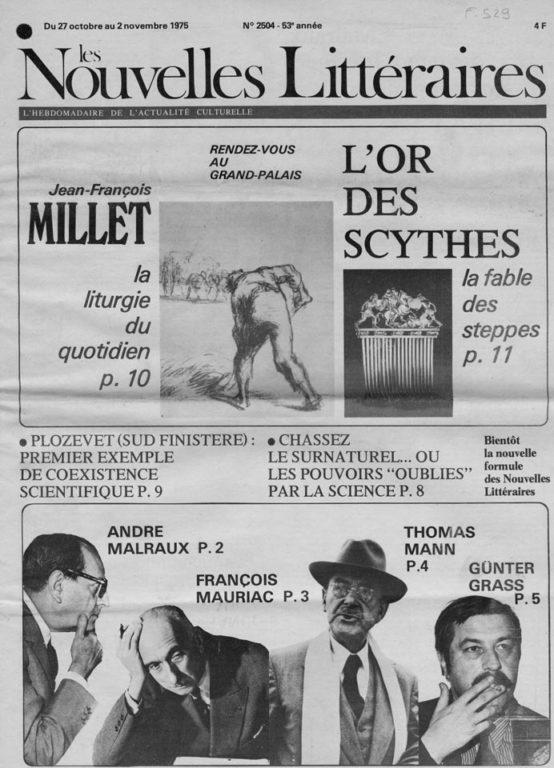 """Image of «Les Nouvelles Littéraires», 27 octobre – 2 novembre 1975, n° 2504, p. 2. R. M. Albérès: «Malraux des temps héroïques au """"temps des limbes"""" – Dialogue au sommet». Hôtes de passage d'André Malraux, Gallimard, 236 pages."""