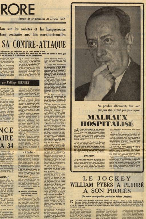 Image of «L'Aurore», 21-22 octobre 1972, n° 8.752, p. 22.  «Malraux hospitalisé – Ses proches affirmaient, hier soir, que son état n'était pas préoccupant.»