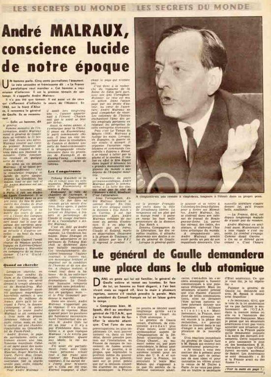 Image of «Détective», 4 juillet 1958, p. 3. «André Malraux, conscience lucide de notre époque»