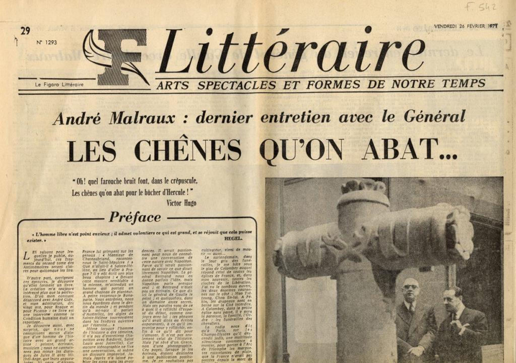 """Image of L/1971.02.26 — «Le Figaro Littéraire», 26 février 1971, n° 1293, p. 29-30.  André Malraux: «Dernier entretien avec le Général – """"Les Chênes qu'on abat…""""». Préoriginales."""