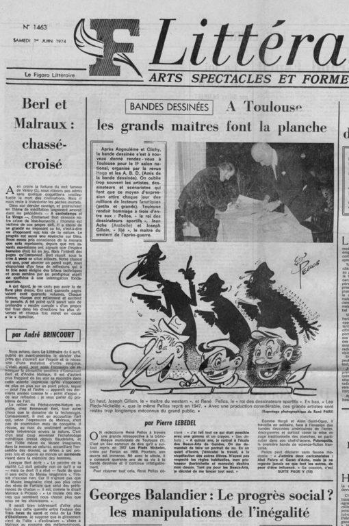 Image of «Le Figaro Littéraire», 1er juin 1974, n° 1463, p. 1. André Brincourt: «Berl et Malraux: chassé-croisé».