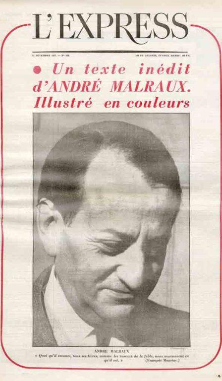 Image of «L'Express», 21 novembre 1957, p. 17-20. Françoise Giroud: «La métamorphose d'André Malraux»