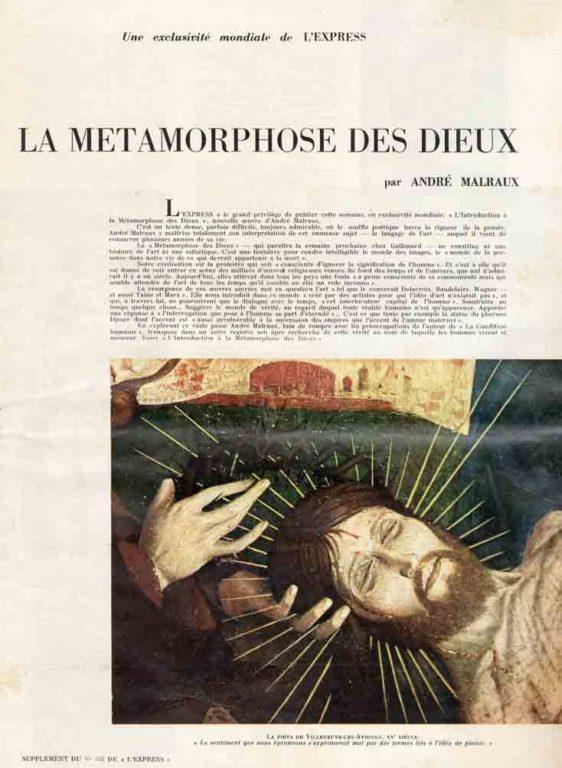 """Image of L/1957.11.21 — Encart de «L'Express», 21 novembre 1957. Une exclusivité mondiale de «L'Express». [Préoriginale de] «L'Introduction à """"La Métamorphose des Dieux"""" par André Malraux."""