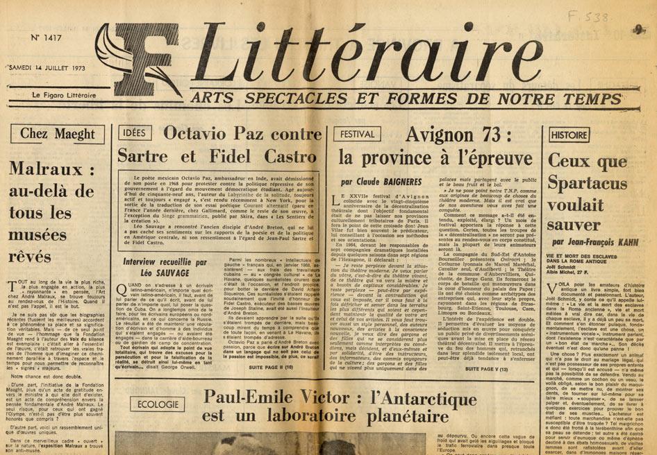 Image of «Le Figaro Littéraire», 14 juillet 1973, n° 1417, p. 1. André Brincourt: «Chez Maeght– Malraux: au-delà de tous les musées rêvés».