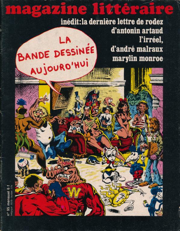 Image of «Magazine Littéraire», décembre 1974, n° 95, p. 52 à 54. Claude Michel Cluny: «La fiction devenue temple».
