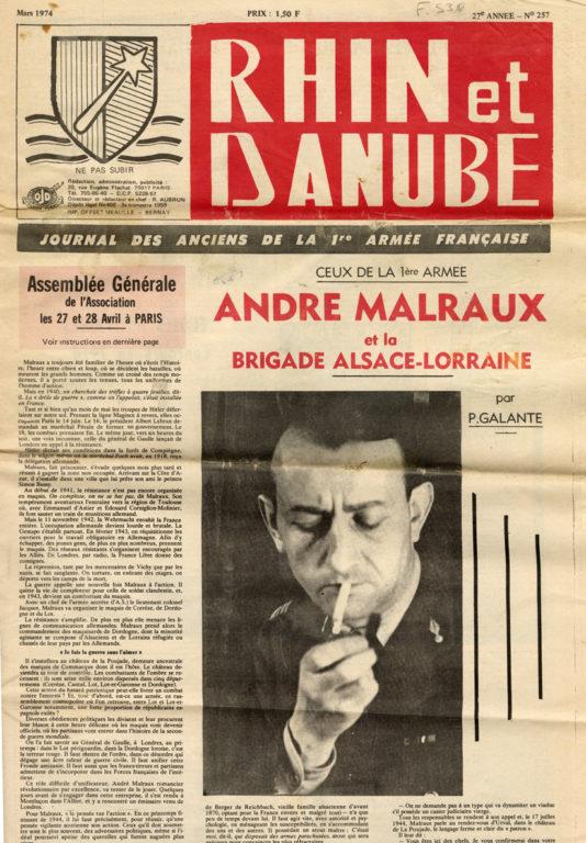 Image of «Rhin et Danube, journal des Anciens de la 1re Armée française», mars 1974, n° 257, p. 1. Pierre Galante: «Ceux de la 1ère armée– André Malraux et la Brigade Alsace-Lorraine» .