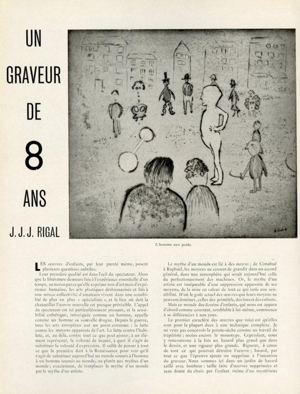 Image of A/1934.10.15 — «Arts et Métiers graphiques», n° 43, 15 octobre 1934, p. 32-36. André Malraux: «Un graveur de 8 ans J.J.J. Rigal».