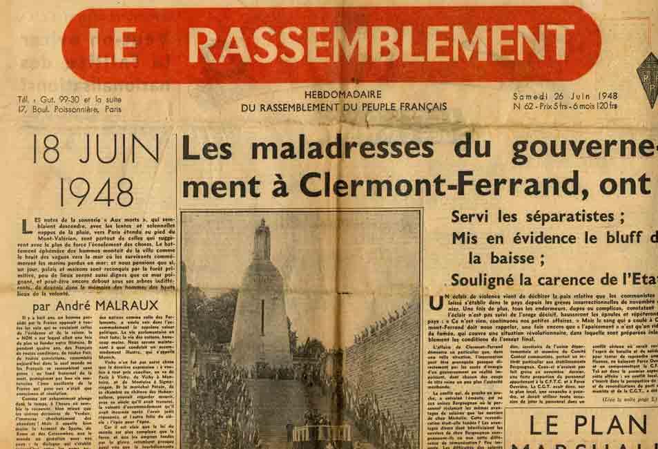 Image of A/1948.06.26 — André Malraux, «18 juin 1948», «Le Rassemblement», 26 juin 1948, p. 1.