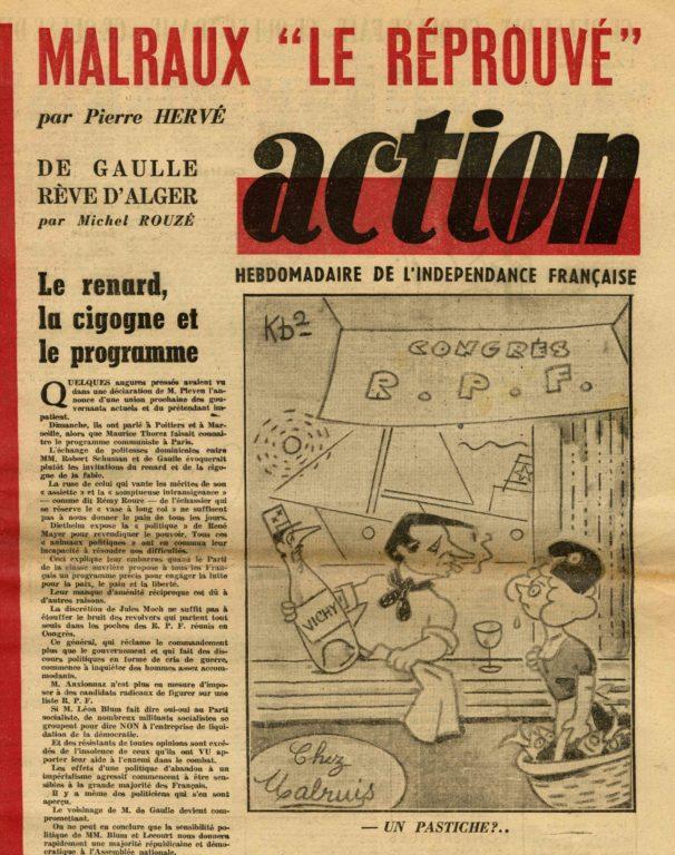 """Image of Pierre Hervé, «Malraux """"Le réprouvé""""», «Action», 21 avril 1948, p. 3."""
