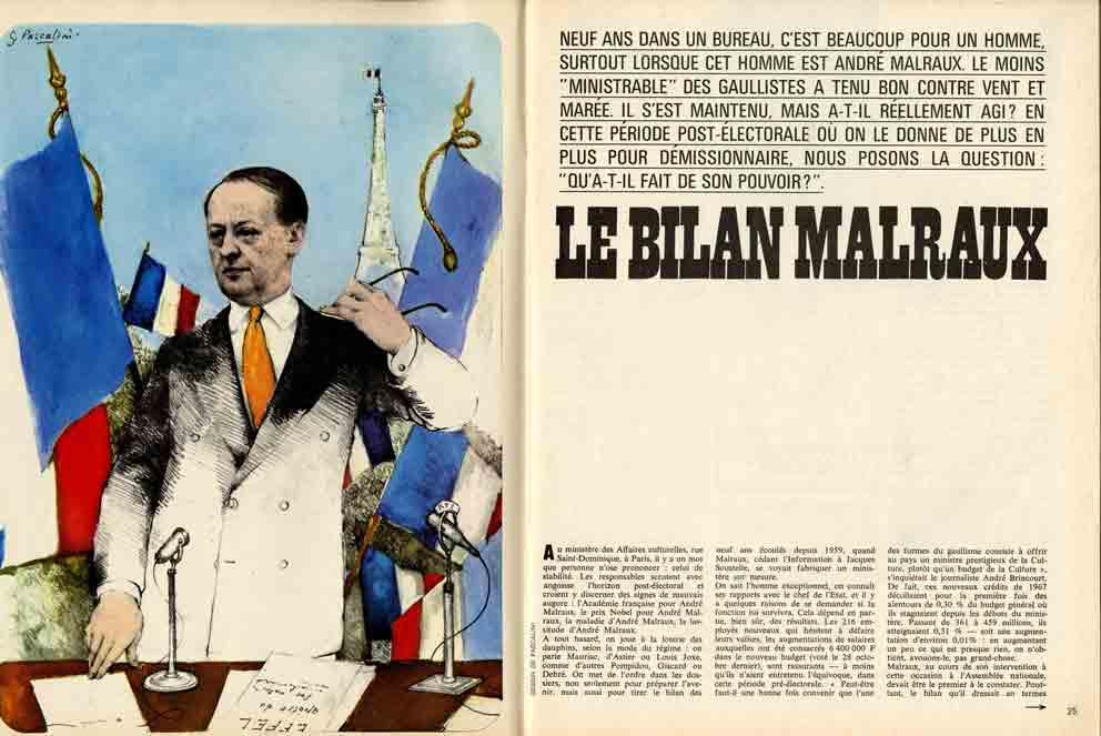 Image of François Lachaume: «Le bilan Malraux» et Bernard Frank: «C'est difficile de bien vieillir», «Adam», n° 9, avril 1967, p. 25-32.