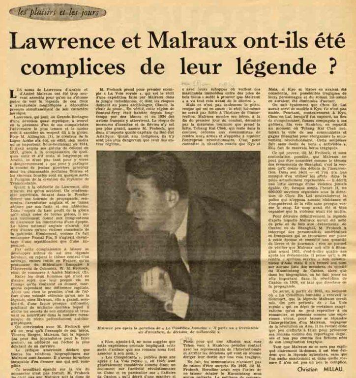 Image of Christian Millau: «Lawrence et Malraux ont-ils été complices de leur légende?», «Bulletin de Paris», n° 64, 31 décembre 1954, p. 8.