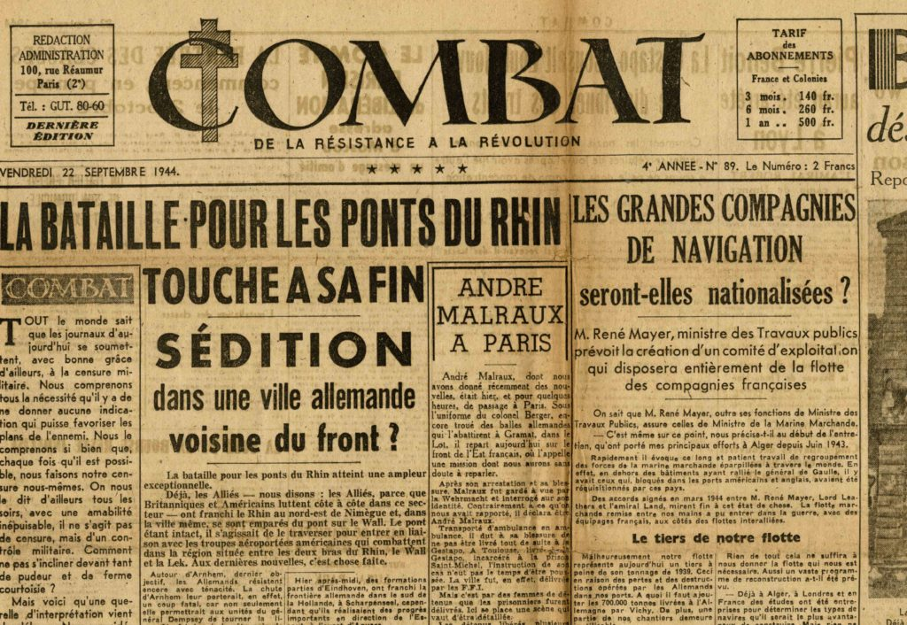 Image of «André Malraux à Paris», «Combat», 22 septembre 1944, p. 1.