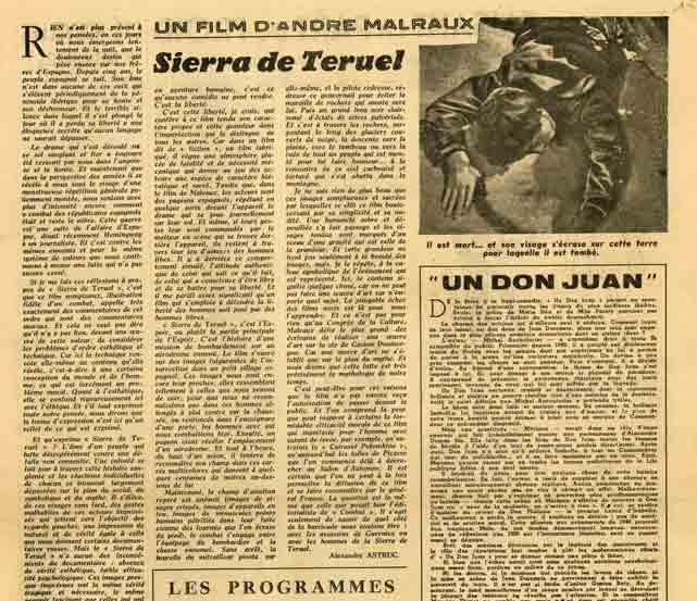 "Image of Alexandre Astruc, «Un film d'André Malraux: ""Sierra de Teruel""», «Action», 13 octobre 1944, p. 9."