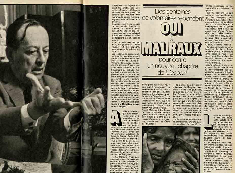 """Image of «Des centaines de volontaires répondent Oui à Malraux pour écrire un nouveau chapitre de """"L'Espoir""""», «Paris Match», 9 octobre 1971, n° 1170, p. 56-57."""