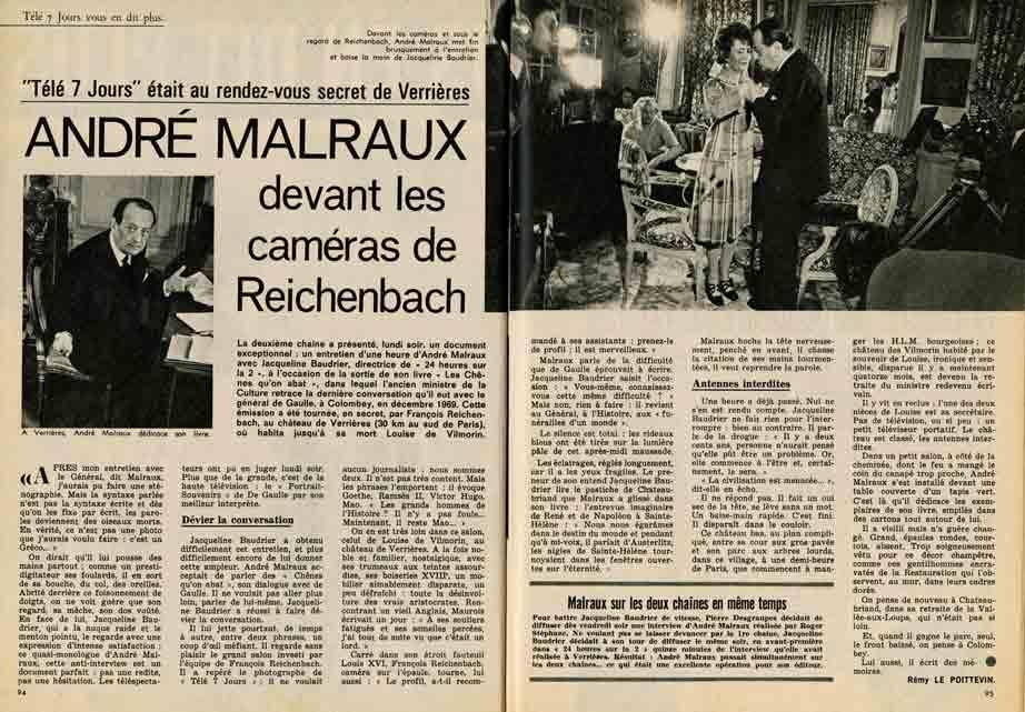 Image of Rémy Le Poittevin: «Télé 7 jours était au rendez-vous secret de Verrières – André Malraux devant les caméras de Reichenbach», «Télé 7 jours», n° 569, 20 mars 1971, p. 94-95.