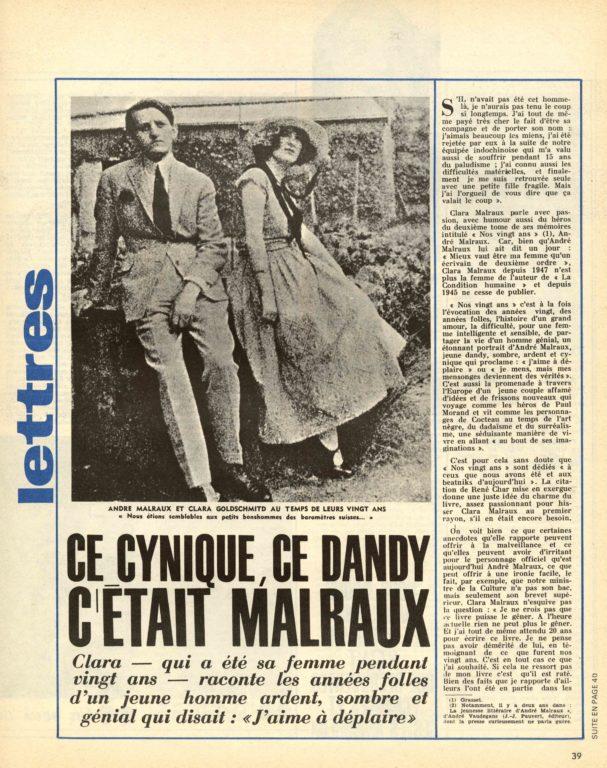 Image of Pierre Deméron: «Ce cynique, ce dandy, c'était Malraux», «Candide», n° 283, 26 septembre 1966, p. 39-41.