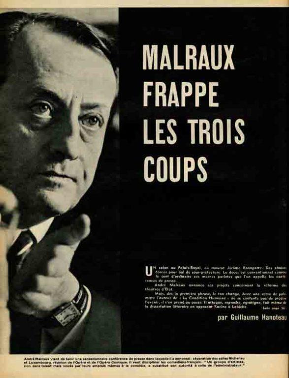 Image of Guillaume Hanoteau: «Malraux frappe les trois coups», «Paris Match», n° 523, 18 avril 1959, p. 54-57.