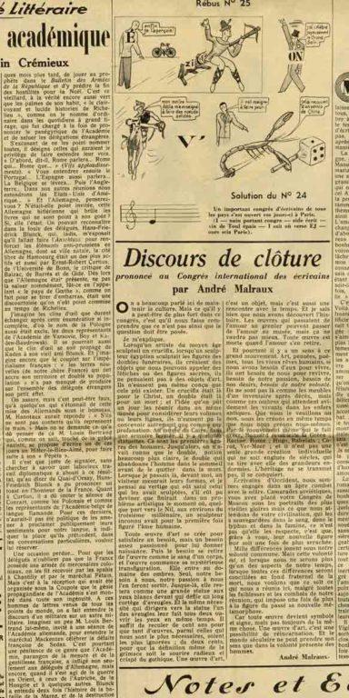 Image of D/1935.07.03 — André Malraux : «Discours de clôture prononcé au Congrès international des écrivains», «Marianne», 3 juillet 1935, p. 4.