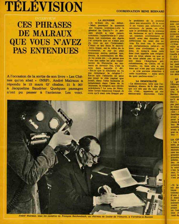 Image of E/1971.04.05 — René Bernard: «Ces phrases de Malraux que vous n'avez pas entendues», «Elle», n° 1320, 5 avril 1971, p. 44-45.