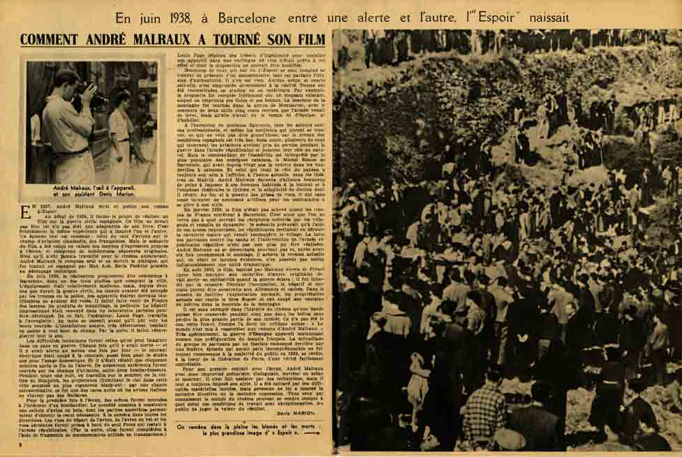 Image of Denis Marion, «En juin 1938, à Barcelone entre une alerte et l'autre, l'Espoir naissait», «L'Ecran français», 4 juillet 1945, p. 8-9.