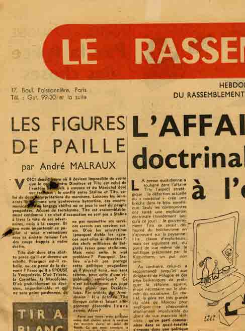 Image of A/1948.07.10 — André Malraux, «Les figures de paille», «Le Rassemblement», 10 juillet 1948, p. 1.