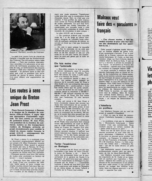 """Image of «Malraux veut faire des """"paradores"""" français», «Paris Match», n° 1035, 8 mars 1969,  p. 6."""