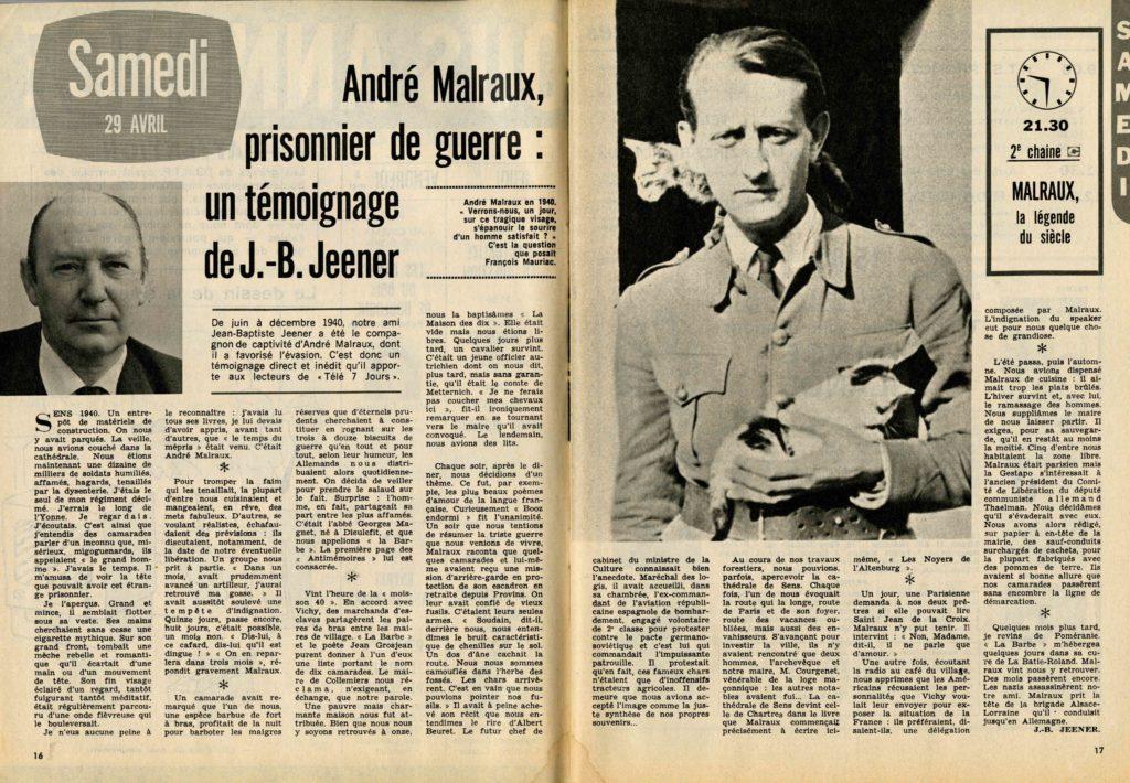 Image of Jean-Baptiste Jeener: «André Malraux, prisonnier de guerre», «Télé 7 Jours», 29 avril 1972, n° 627, p. 16-17.