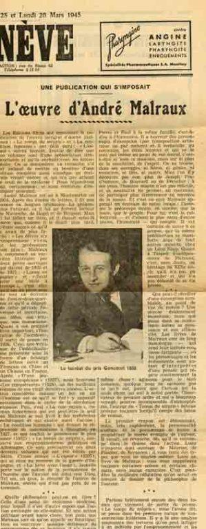 Image of Jean Marteau, «Une publication qui s'imposait. L'œuvre d'André Malraux», «Le Journal de Genève», 26 mars 1945, p. 1.
