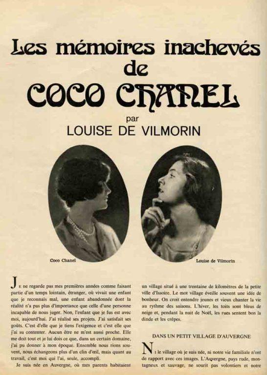 Image of Louise de Vilmorin: «Les mémoires inachevées de Coco Chanel», «Jours de France», 16 novembre 1971, n° 882, p. 132-134.