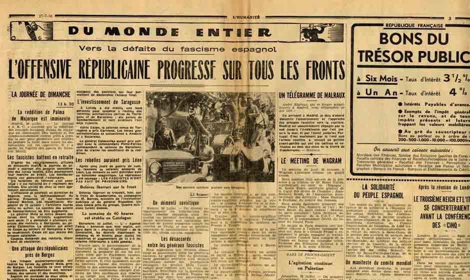 Image of A/1936.07.27 — Malraux, «Un télégramme de Malraux», «L'Humanité», 27 juillet 1936, p. 3.
