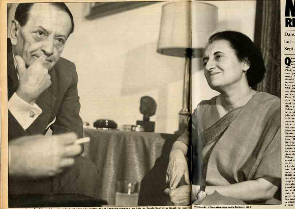 """Image of E/1973.06.02 — «Malraux, retour des Indes. Dans ses """"Antimémoires"""", Malraux racontait ses conversations de 1966 [sic] avec Nehru. Sept ans après, il va voir Indira Gandhi», «Paris Match», 2 juin 1973, n° 1256, p. 53-58."""