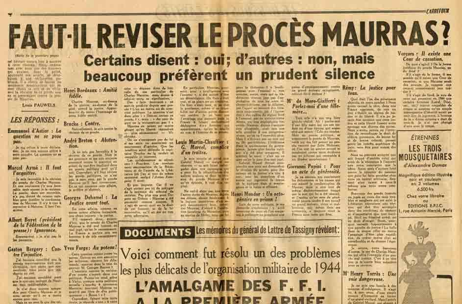 Image of Louis Pauwels: «Le procès Maurras doit-il être révisé?», «Carrefour», n° 275, 20 décembre 1949, p. 4.  – «Malraux: Au nom de quoi ne réviserait-on pas?»