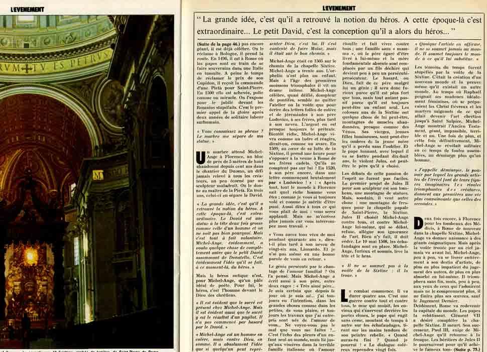"""Image of E/1975.03.22 — «""""Je ne suis ni peintre ni sculpteur"""" disait-il cinq siècles plus tôt. André Malraux commente pour cet anniversaire la biographie de Michel-Ange», «Paris-Match», 22 mars 1975, n° 1347, p. 46, 59 et 75."""