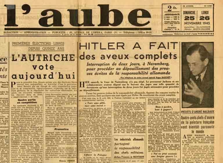 Image of «Projets d'André Malraux. Quatre cents chefs-d'œuvre de la peinture française vont bientôt parcourir le monde», «L'Aube», 26 novembre 1945, p. 1.