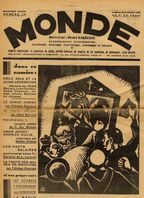 Image of A/1929.10.20 — «[Réponse d'André Malraux]», «Emile Zola et la nouvelle génération», «Monde», 20 octobre 1929, p. 4.