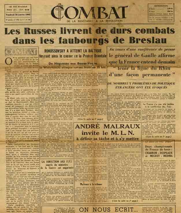 Image of D/1945.01.26 — André Malraux, «André Malraux invite le M.L.N. à définir sa tâche et à s'y mettre. [Une nouvelle Résistance commence.]», «Combat», 26 janvier 1945, p. 1 et 2.