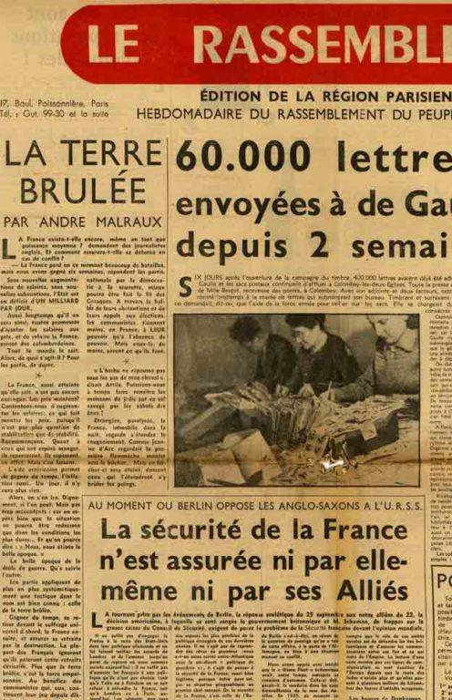 Image of A/1948.10.02 — André Malraux, «La terre brûlée», «Le Rassemblement», 2 octobre 1948, p. 1.