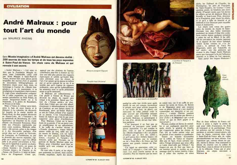 Image of Maurice Rheims: «André Malraux: pour tout l'art du monde»; Georges Suffert: «L'Histoire selon Malraux», «Le Point», 9 juillet 1973, n° 42, p. 56-58.
