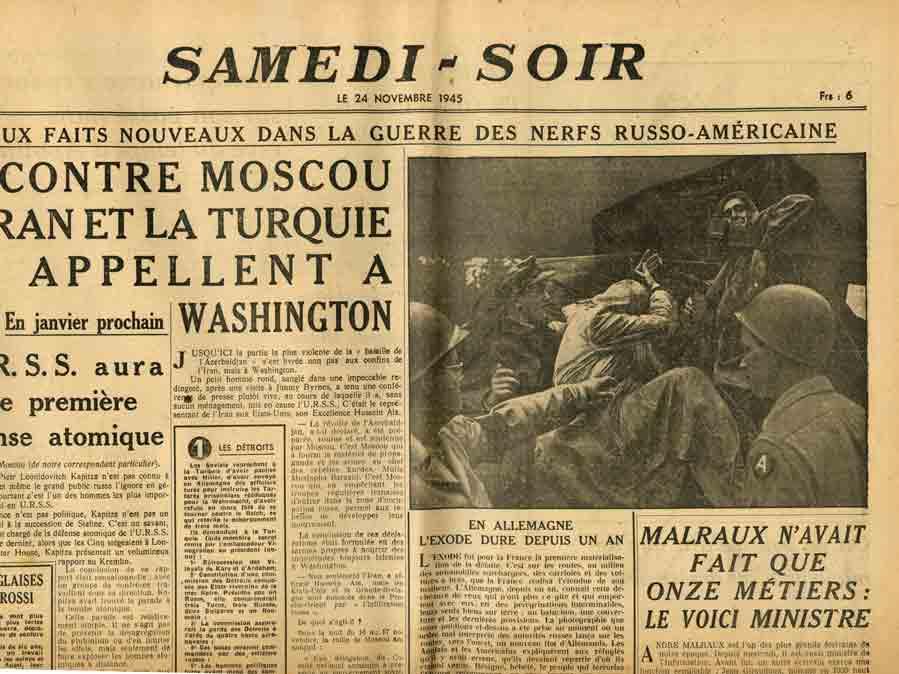 Image of «Malraux n'avait fait que onze métiers: le voici ministre», «Samedi-Soir», 24 novembre 1945, p. 1.