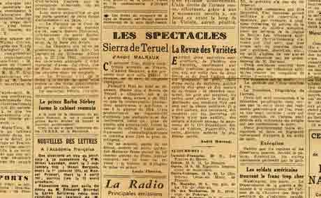 """Image of Louis Chauvet, «Les spectacles: """"Sierra de Teruel"""" d'André Malraux», «Le Figaro», 2 mars 1945, p. 2."""