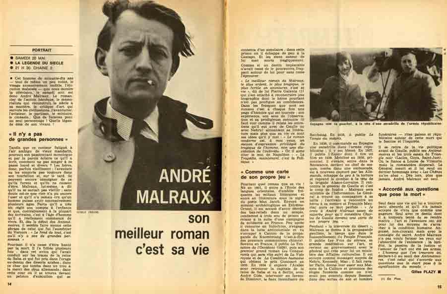 Image of Gilles Plazy: «André Malraux, son meilleur roman c'est sa vie», «Télérama», 21 mai 1972, n° 1166, p. 14-15.