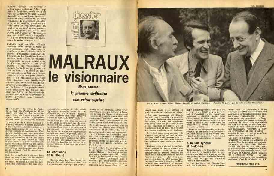 """Image of Claude-Marie Tremois: «Malraux le visionnaire """"Nous sommes la première civilisation sans valeur suprême""""», «Télérama», 30 avril 1972, n° 1163, p. 6-9."""
