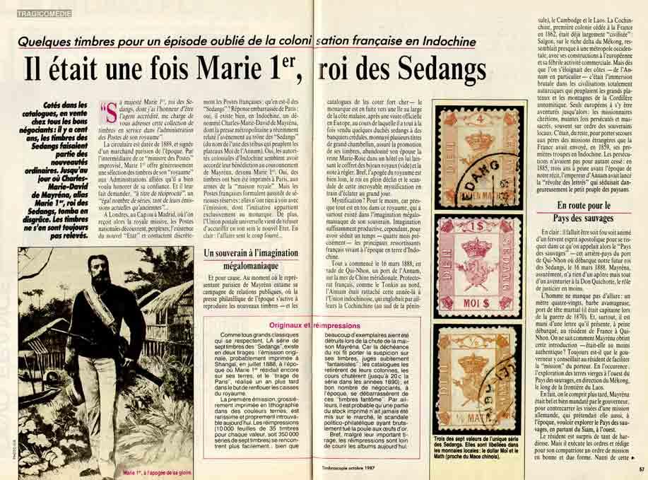 Image of Pierre Salanne: «Quelques timbres pour un épisode oublié de la colonisation française en Indochine – Il était une fois Marie 1er, roi des Sedangs», «Timbroscopie», octobre 1987, n° 40, p. 56-58.
