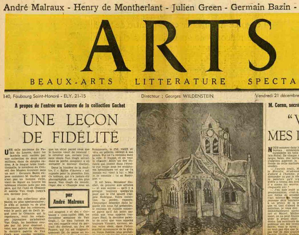 Image of A/1951.12.21 — André Malraux: «A propos de l'entrée au Louvre de la collection Gachet – Une leçon de fidélité», «Arts», n° 338, 21 décembre 1951, p. 1.