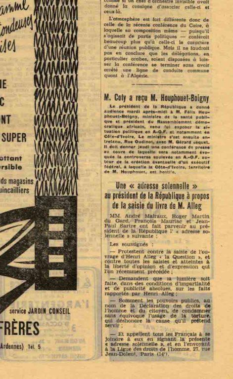 """Image of A/1958.04.17 — «Une """"adresse solennelle"""" au président de la République à propos de la saisie du livre de M. Alleg», «Le Monde», n° 4116, 17 avril 1958, p. 6."""
