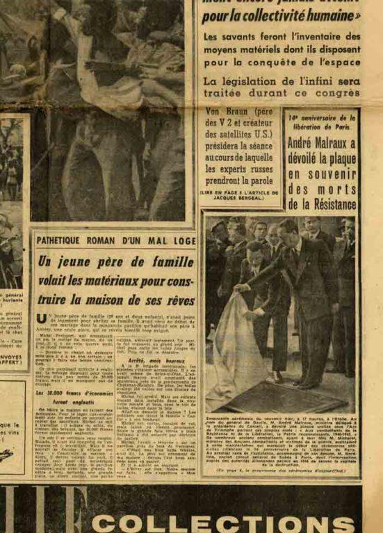 Image of «14e anniversaire de la libération de Paris», «Le Journal du Dimanche», n° 615, 24 août 1958, p. 1 et 4.