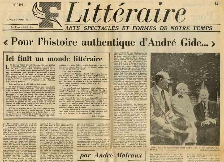 Image of P/1973.03.03 — André Malraux: «Pour l'histoire authentique d'André Gide…», «Le Figaro littéraire», n° 8854, 3-4 mars 1973, p. 15-16.