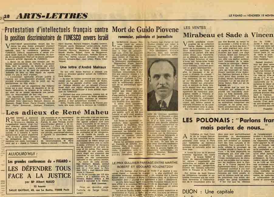 Image of A/1974.11.15 — «Protestation d'intellectuels français contre la position discriminatoire de l'UNESCO envers Israël», «Le Figaro», n° 9382, 15 novembre 1974, p. 28.  – «Une lettre d'André Malraux».
