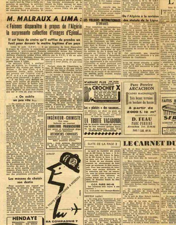 """Image of «M. Malraux à Lima: """"Faisons disparaître à propos de l'Algérie la surprenante collection d'images d'Epinal… – Il est faux de croire qu'il suffise de prendre un fusil pour devenir le maître légitime d'un pays""""», «Le Figaro», n° 4661, 1er septembre 1959,  p. 3."""